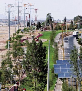 Parque con energía fotovoltáica