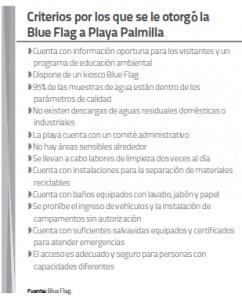Criterios por los que se otrogó la Blue Flag a Playa Palmilla