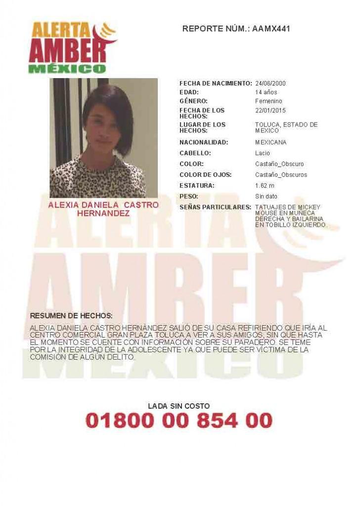 Alerta Amber Daniela Castro Hernandez