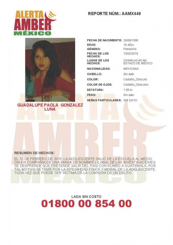 (Localizada) Se activa Alerta Amber para localizar a Guadalupe Paola Gonzalez Luna