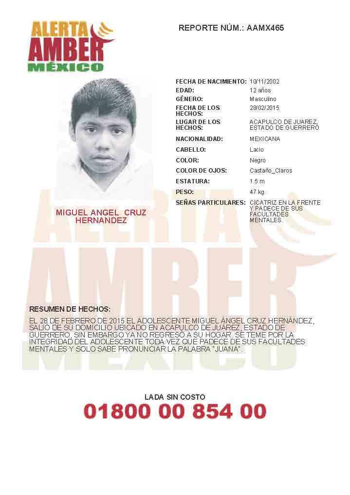 Miguel Angel Cruz Hernandez alerta Amber