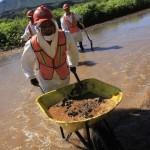 CANANEA, SONORA., 28AGOSTO2014.- Empleados de Grupo México y de empleo temporal del estado de Sonora realizan labores de limpieza en el Río Sonora y Bacanuchi, en el municipio de Arizpe. Como parte de la limpieza se remueve la tierra contaminada y se mezcla con cal para neutralizar los ácidos. El pasado 8 de agosto se registró una fuga en las tuberìas de las instalaciones de Grupo México, que derivo en la contaminación de los ríos Sonora y Bacanuchi con 40 mil metros cúbicos de contaminantes altamente tóxicos. FOTO: MARGARITA GARCÍA /CUARTOSCURO.COM