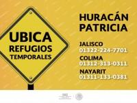 Teléfonos para ubicar refugios temporales por huracán Patricia