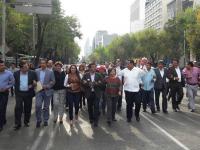 Alcaldes de Veracruz protestan en la CDMX por adeudos del gobierno estatal