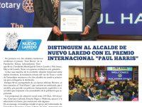 """Distinguen al alcalde de Nuevo Laredo con el Premio Internacional """"Paul Harris"""""""