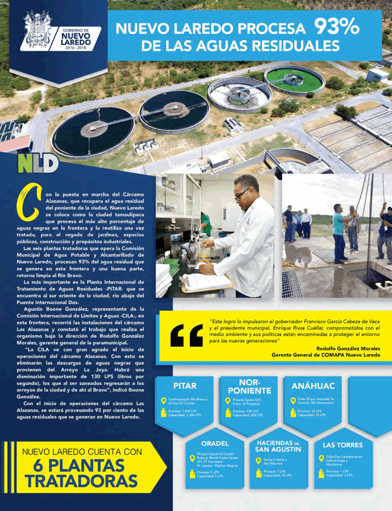 Nuevo Laredo procesa 93% de las aguas residuales