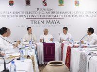 Gobernadores del sur acuerdan con AMLO trabajar en conjunto en Tren Maya